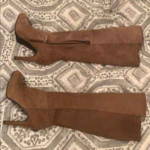 Tan suede heeled boots